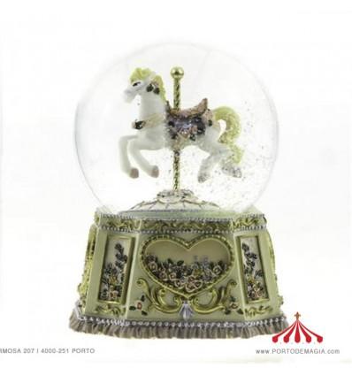 Globe Carousel horse & Flowers