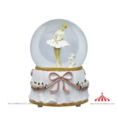 White Musical Ball Ballerina w / Dog