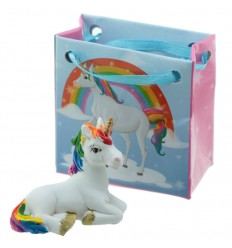 Unicornio arco-iris com mini bolsa