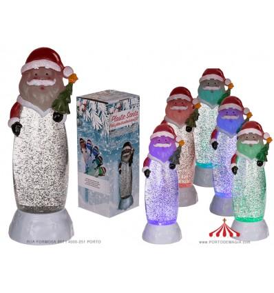 Lanterna com glitter e LED Pai Natal