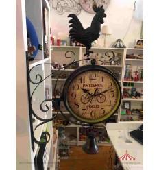 Relógio estação 20cm preto passarinho