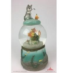 Globo neve aquário e gato