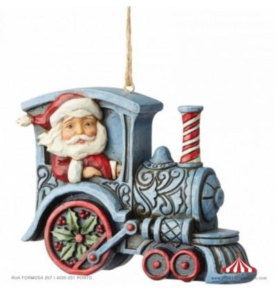 Santa In Train Engine (Hanging Ornament)
