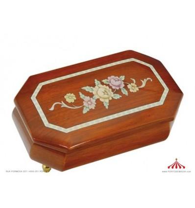 Caixa para joias octogonal com uma flor como Intarsien Design - Não original