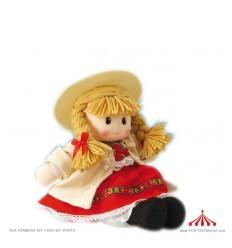 Rapariga em fato tradicional vermelho