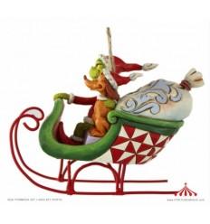 Grinch & Max in Sleigh Ornamento