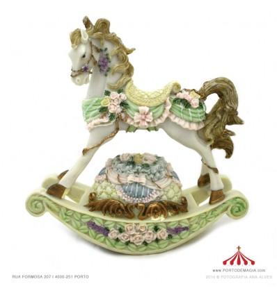 Cavalo Musical branco de baloiço