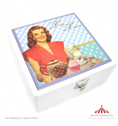 Caixa madeira vintage azulejo ( com 6 divisórias)