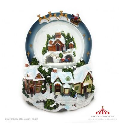 Bola de Neve com Trenó sob a cidade