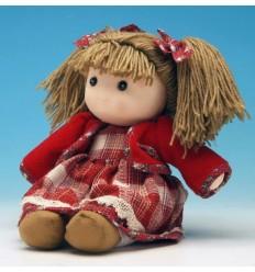 Boneca com casaco vermelho e cabelo de lã
