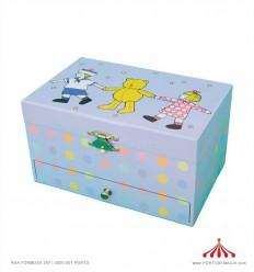 Caixa de Música - azul com ursinho