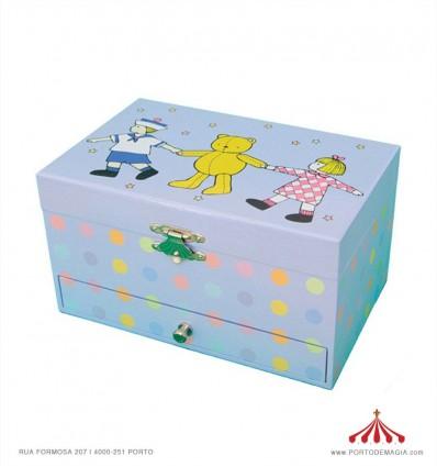 Caixa azul com ursinho