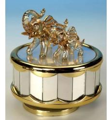 Caixa de musica em vidro com elefantes