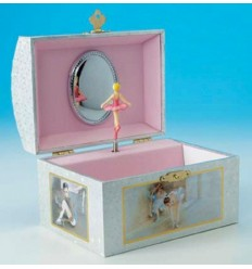 Caixa de Música - Baú prateado bailarina