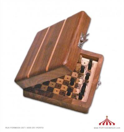 Xadrez de viagem de madeira da India