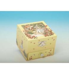 Caixa de joias com gaveta em madeira forrada