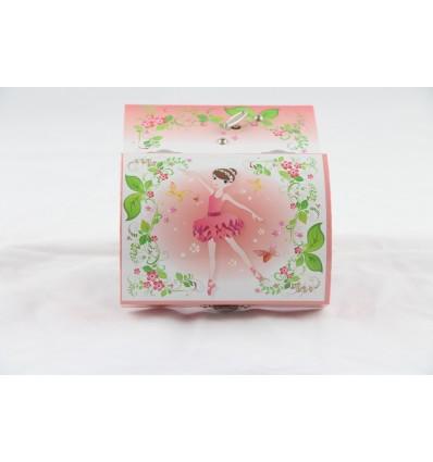 Guarda-jóias bailarina cor-de-rosa