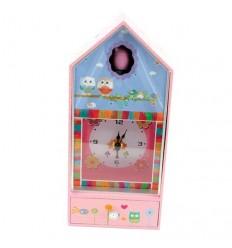 Caixa de música com relógio- Coruja