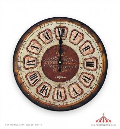 Relógio em madeira 34cm