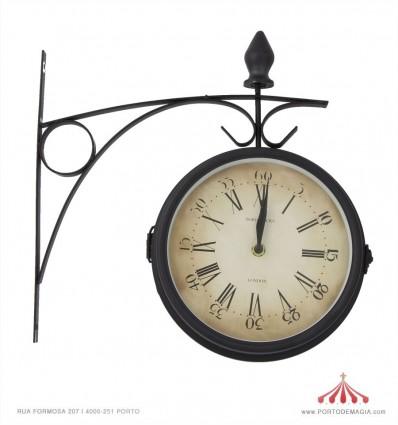Relógio duplo em metal 20cm