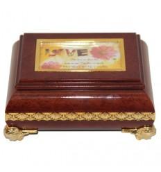 Caixa para jóias retangular em plástico imitando a madeira