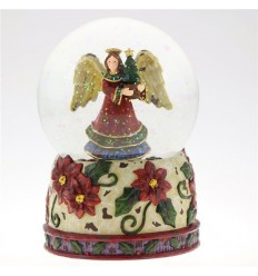 Snow globe with angel motif and decorated flower base