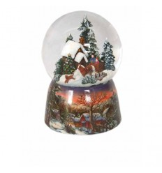 Porcelain snow globe winter house and carriage