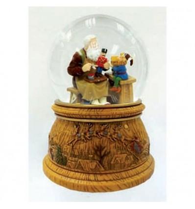 Pai Natal com gnomo - bola de neve
