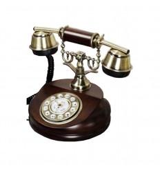 Telefone de mesa antigo em madeira