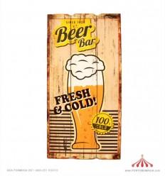 Placa em madeira Since 1859 Beer Bar 30x60x2