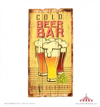 Placa em madeira Cold Beer Bar 30x60x2