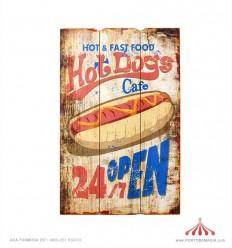 Placa em madeira vintage Hot & Fast Food 40x60x2