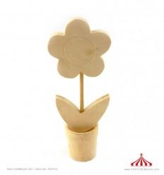 Vaso com flor madeira