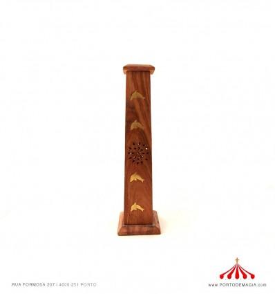 Caixa piramidal madeira incenso gollfinhos