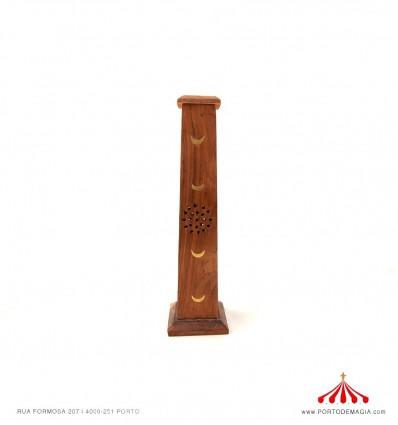 Caixa piramidal madeira incenso luas