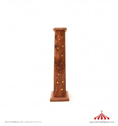 Caixa piramidal madeira incenso flores