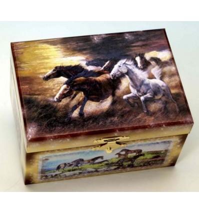 Caixa de tesouro com motivos de cavalos