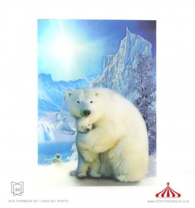 Quadro 3D 2 ursos polares