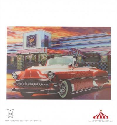 Quadro 3D carro vermelho Diner