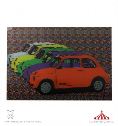 Quadro 3D Fiat 500 coloridos