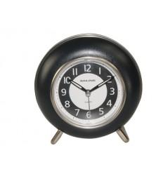Relógio despertador preto redondo