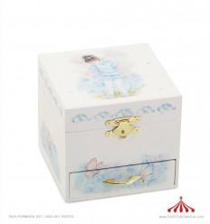 Caixa para joias com gavetas em madeira forrada