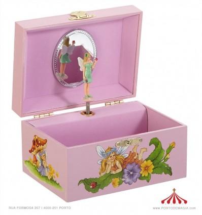 Caixa de musica Fada em cor-de-rosa