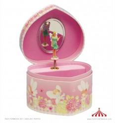 Caixa de joias em forma de coração com fadas como motivo
