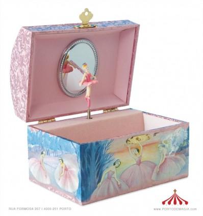 Caixa para joias com forma de baú com cena de ballett em madeira forrada