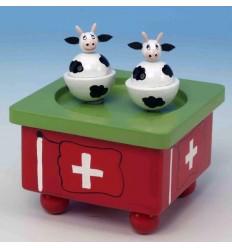 Vacas Suiças dançantes em madeira