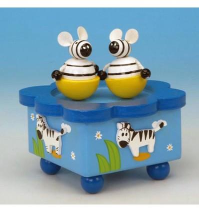As zebras na caixa de musica em madeira