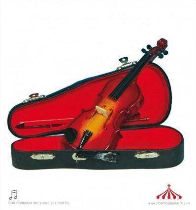 Violino pequeno de madeira com caixa
