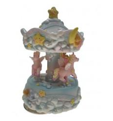 Carrossel com Unicornio cor-de-rosa em Polystone