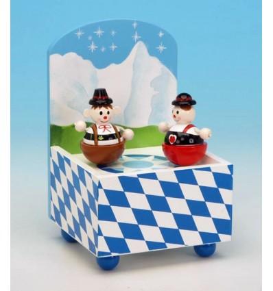 """O par """"dança"""" na caixa de musica em madeira"""